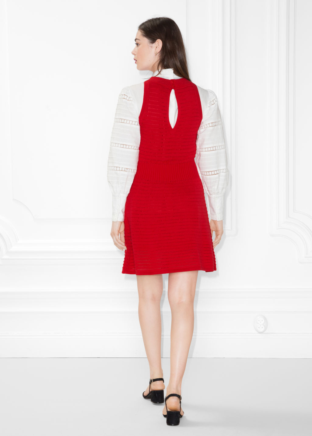 Model back image of Stories pointelle knit dress in red