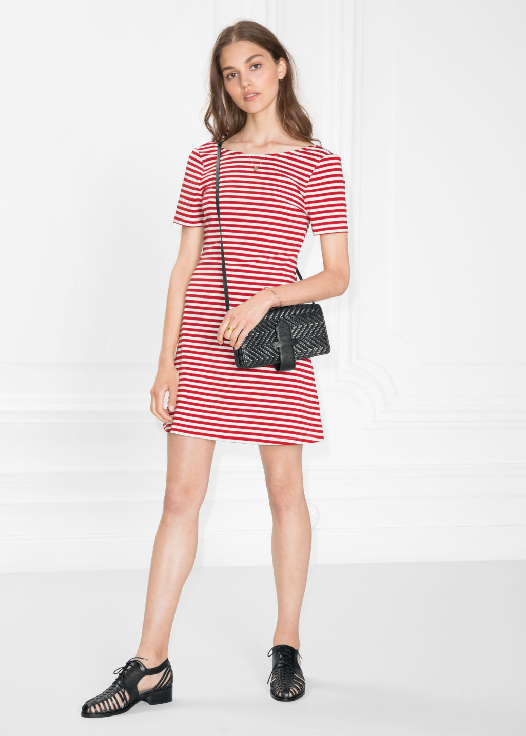 Model front image of Stories scoop back jersey dress in red