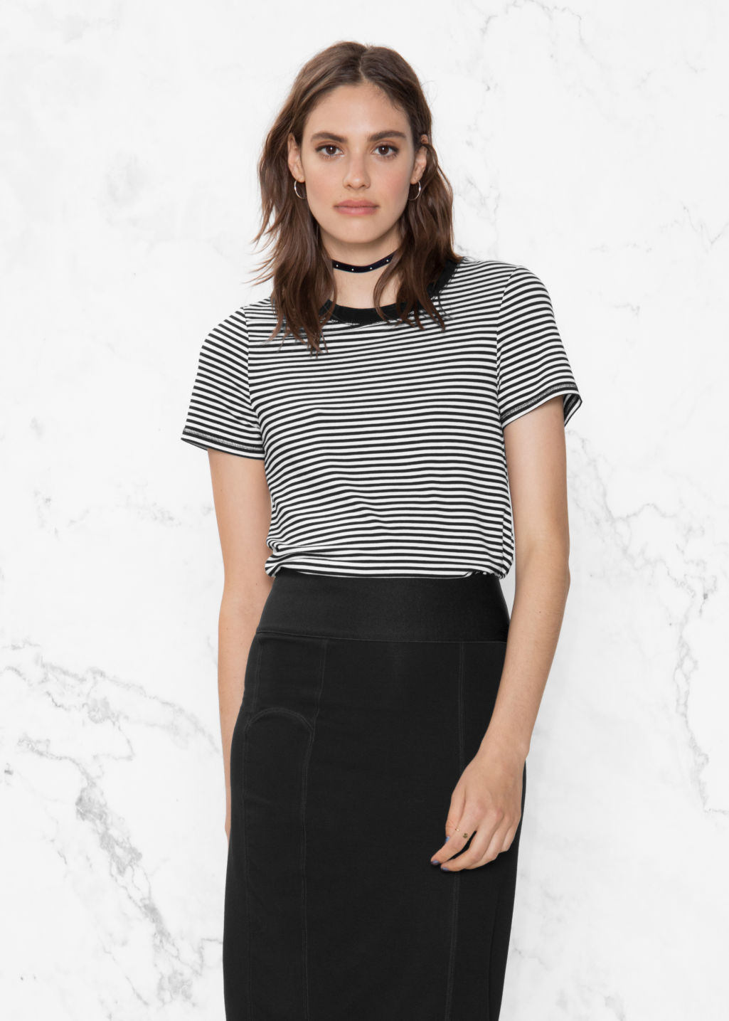 Model front image of Stories stripe top in white