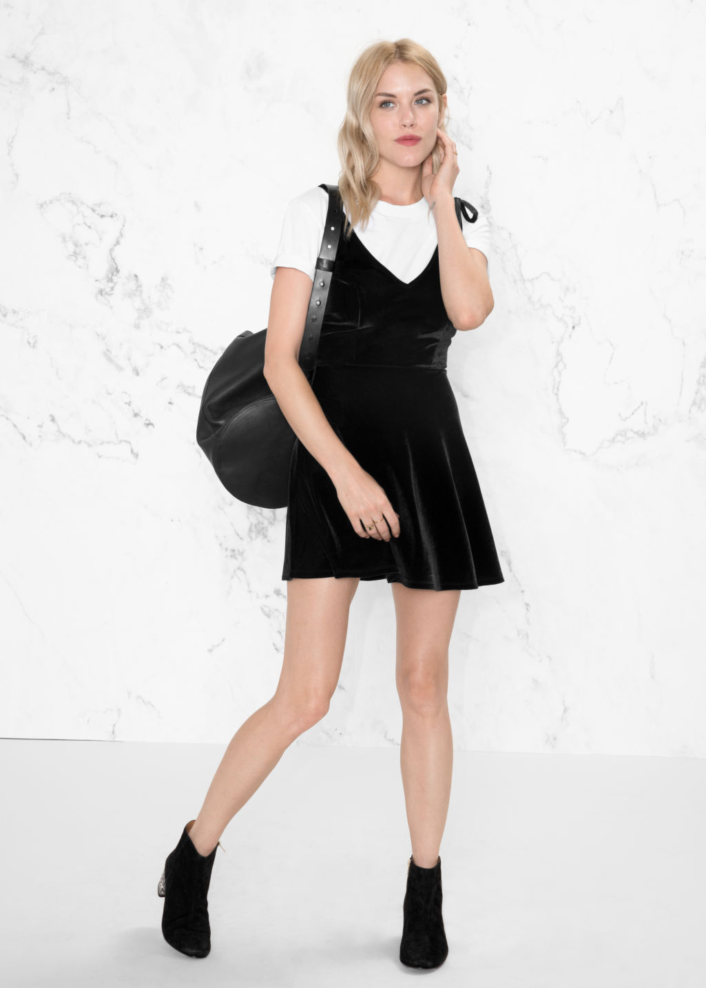 Model front image of Stories velour tie strap dress in black