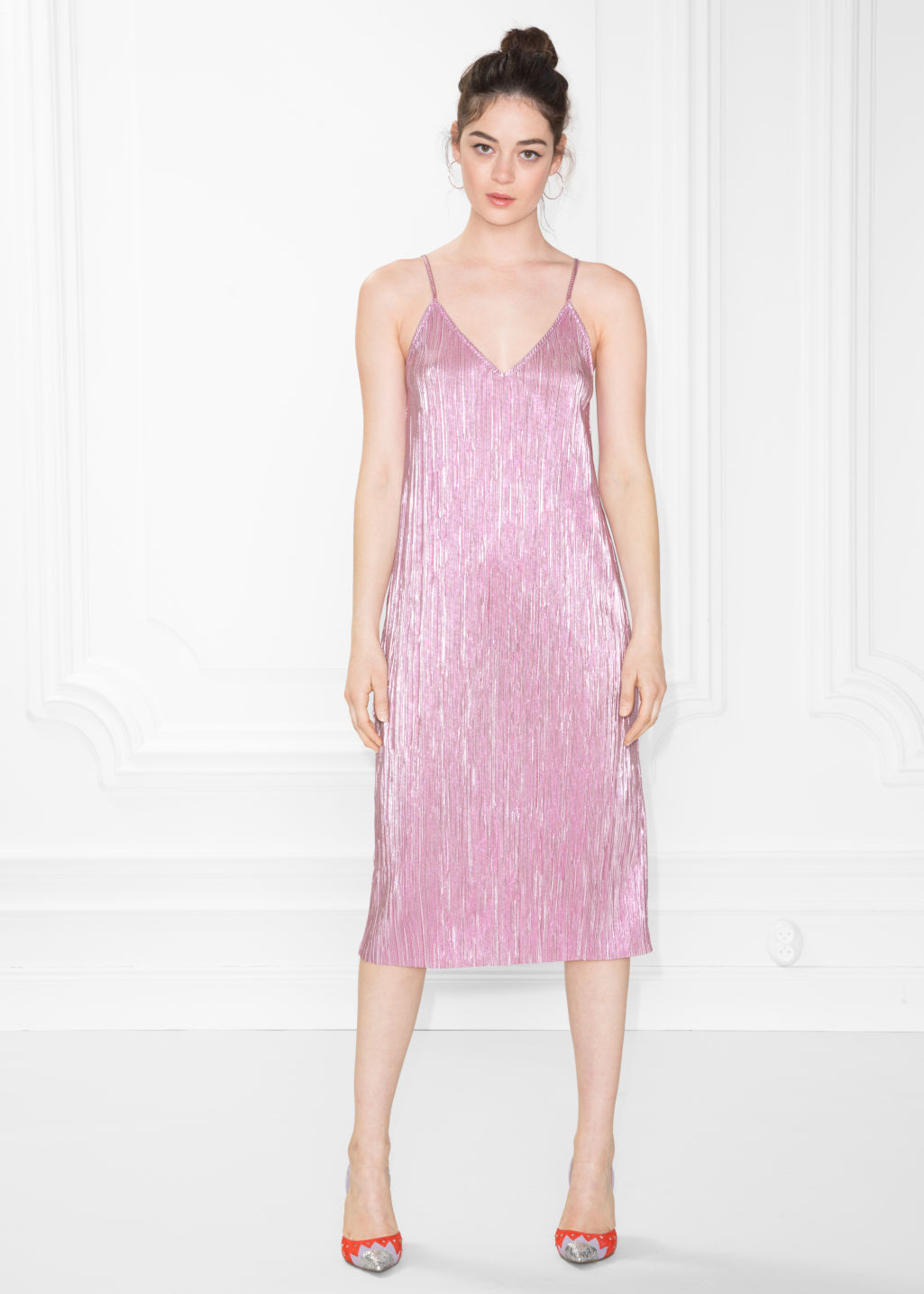 Model front image of Stories metallic sheen dress in pink