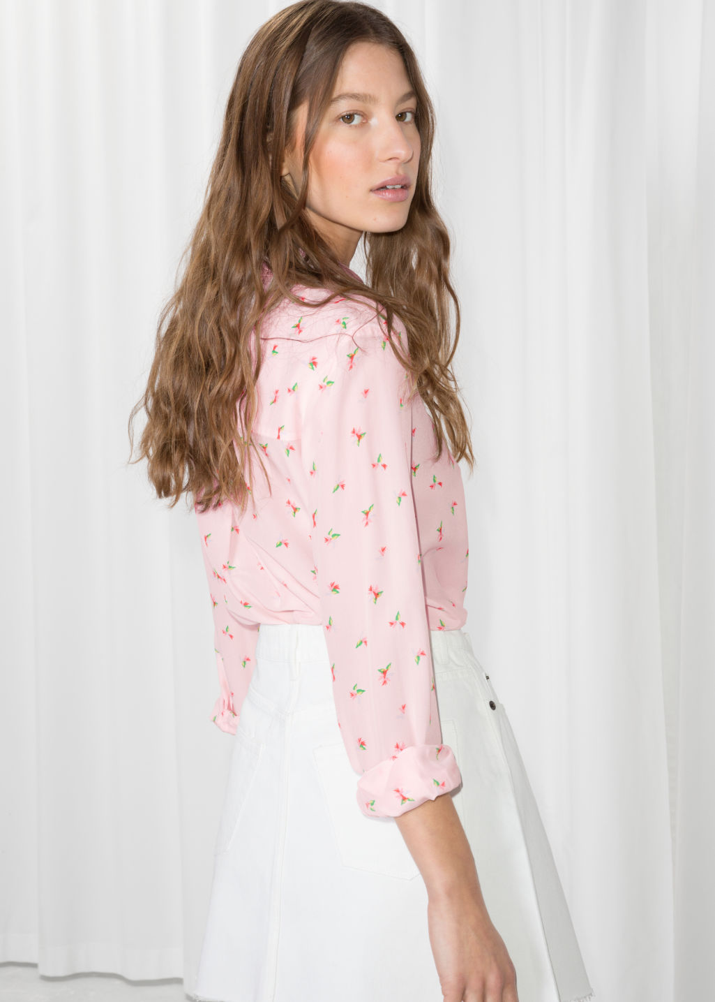 Model back image of Stories silk shirt in pink