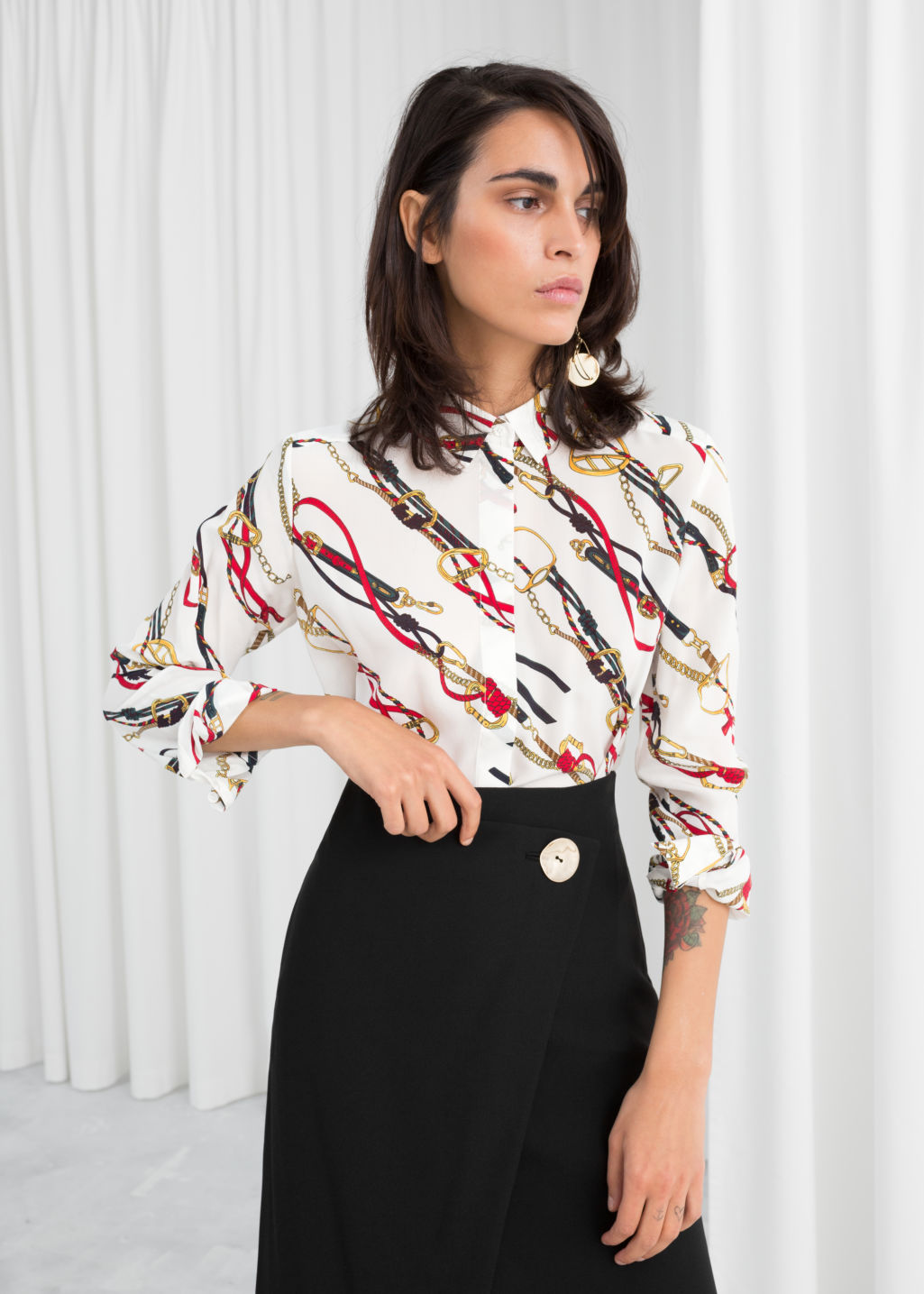 Model front image of Stories silk shirt in white