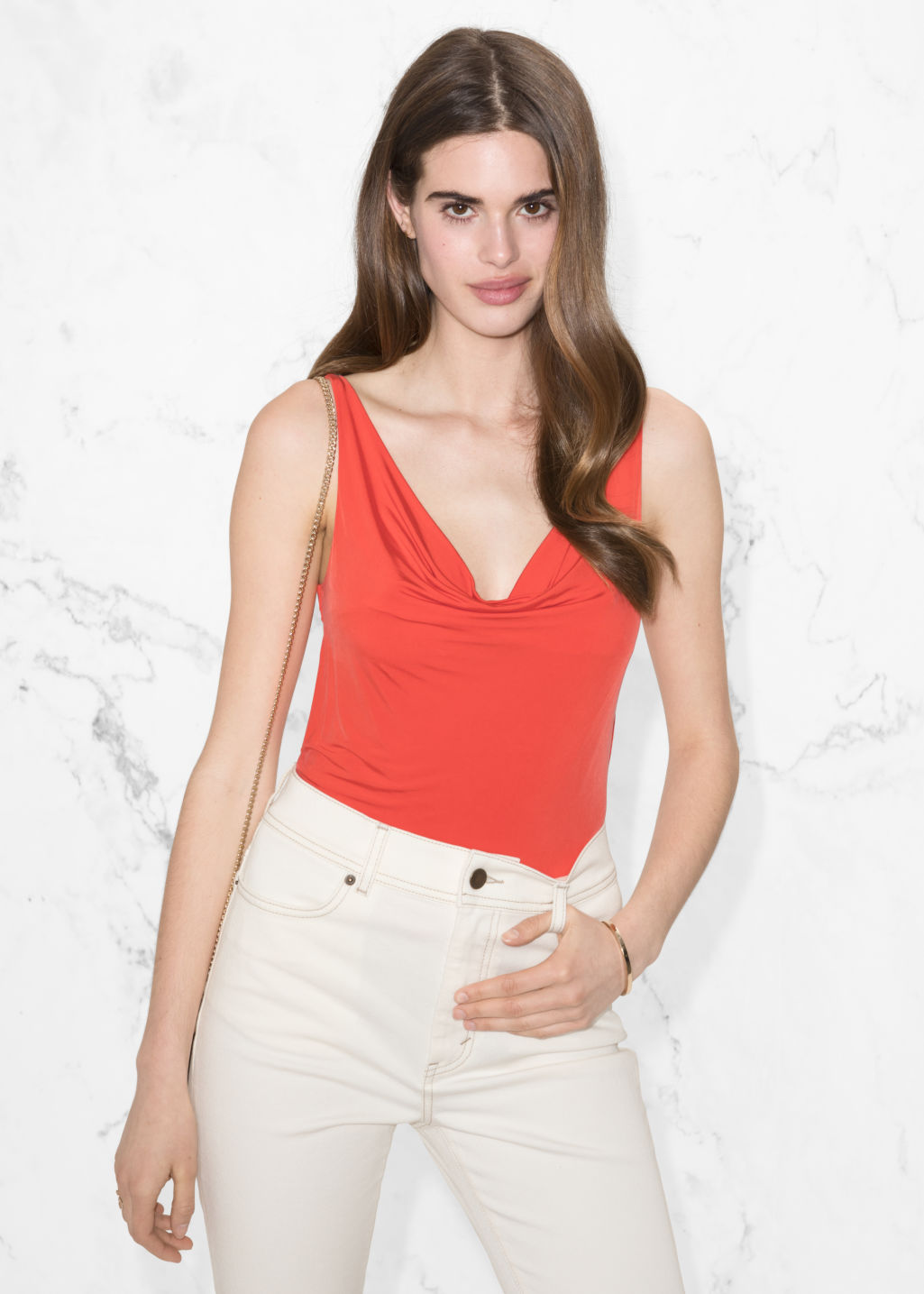 Model front image of Stories drapey cupro top in orange