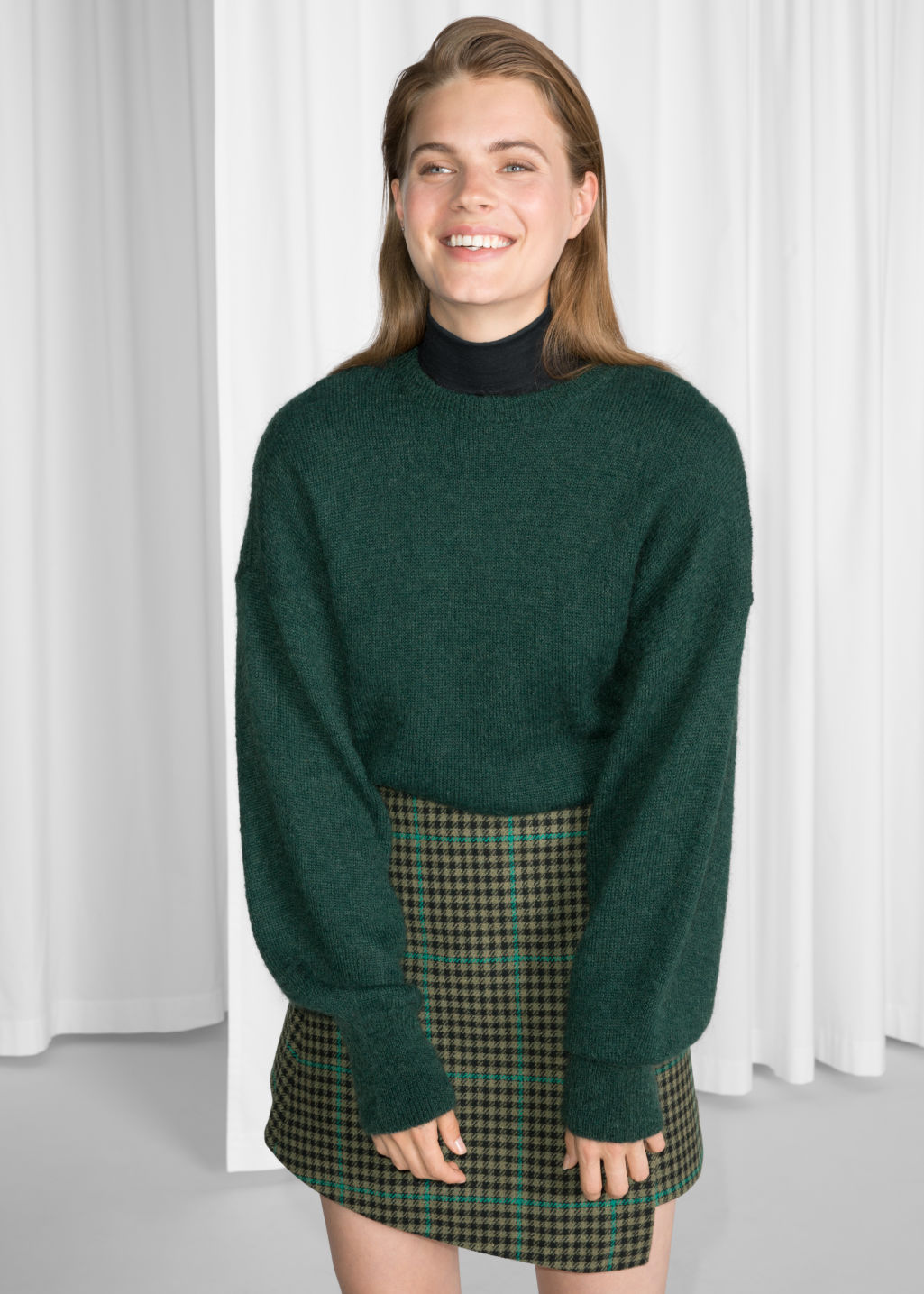 Model front image of Stories mohair jumper in green
