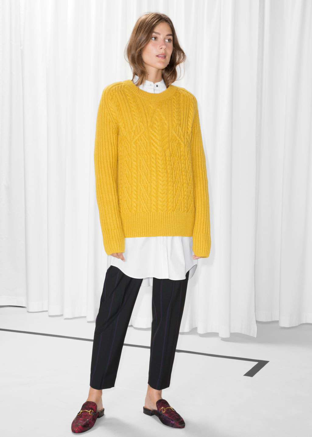 Model front image of Stories cable knit jumper in yellow