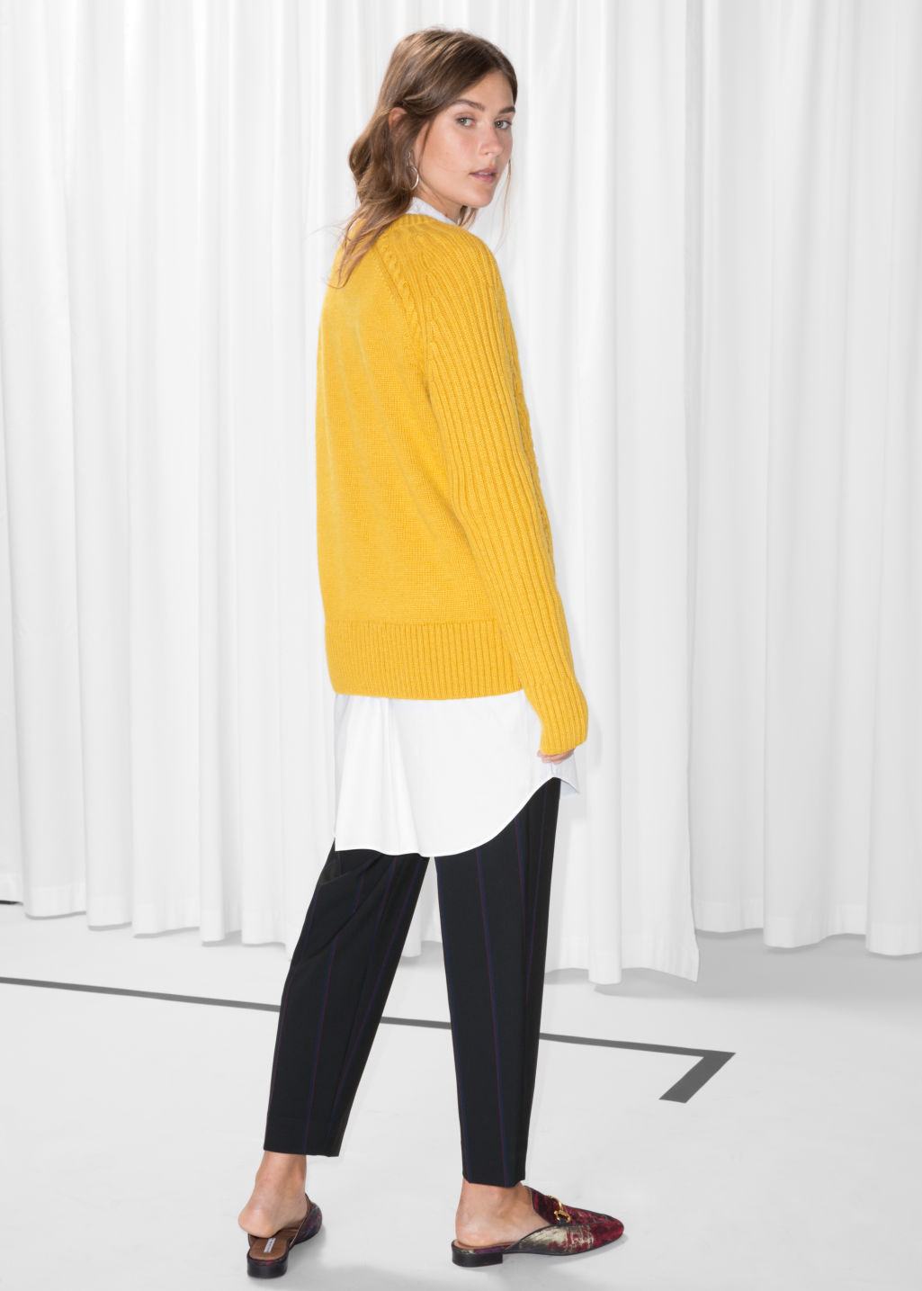 Model back image of Stories cable knit jumper in yellow