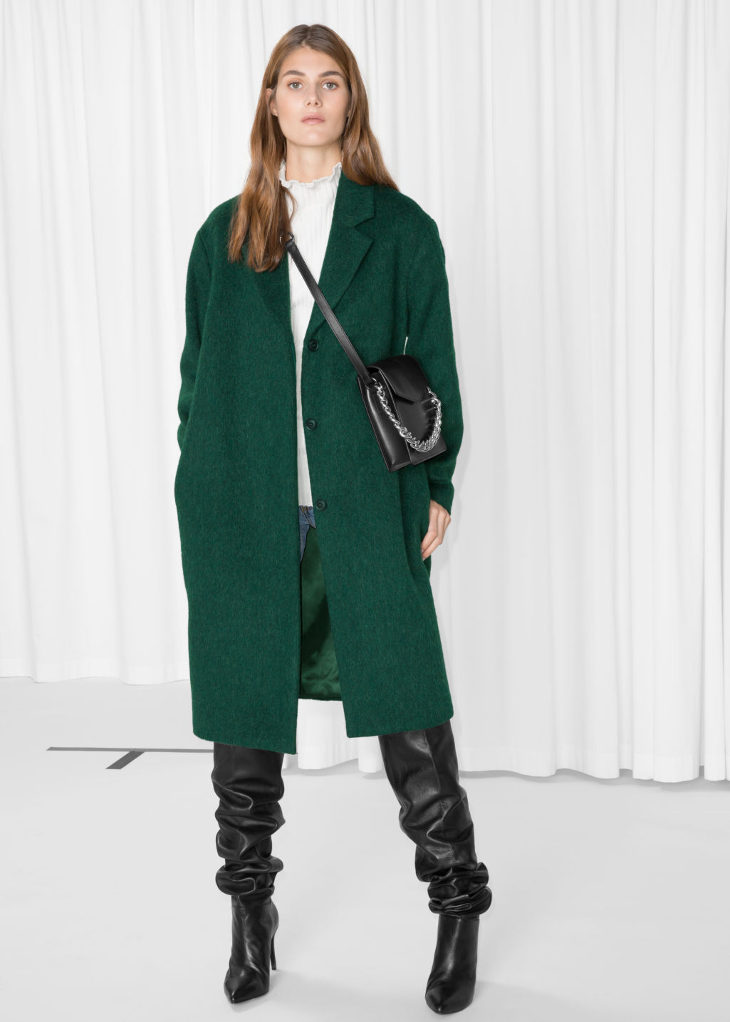 Model front image of Stories wool & mohair blend long coat in green