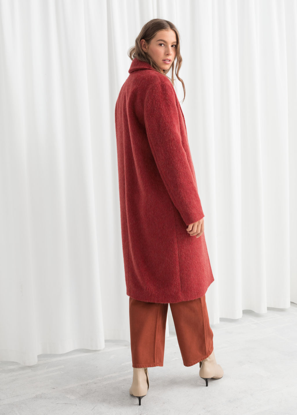 Model back image of Stories wool blend long coat in red
