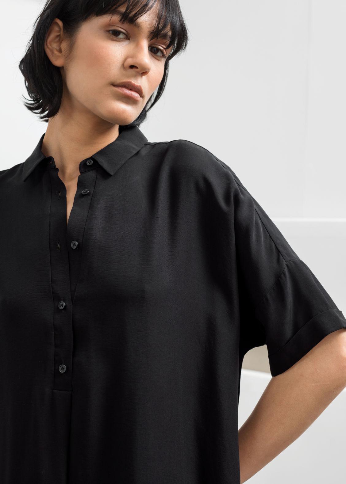 7b66b6b3e8b Oversized Shirt Dress - Black - Midi dresses -   Other Stories