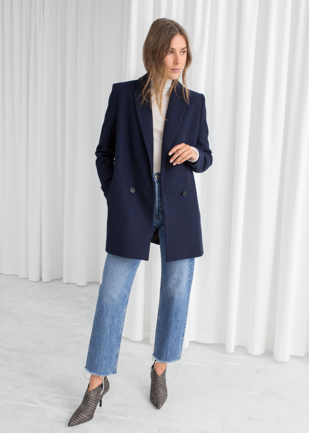 Model front image of Stories double-breasted blazer in blue