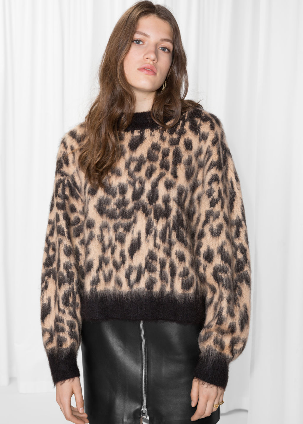 Model front image of Stories fuzzy leopard jumper in beige