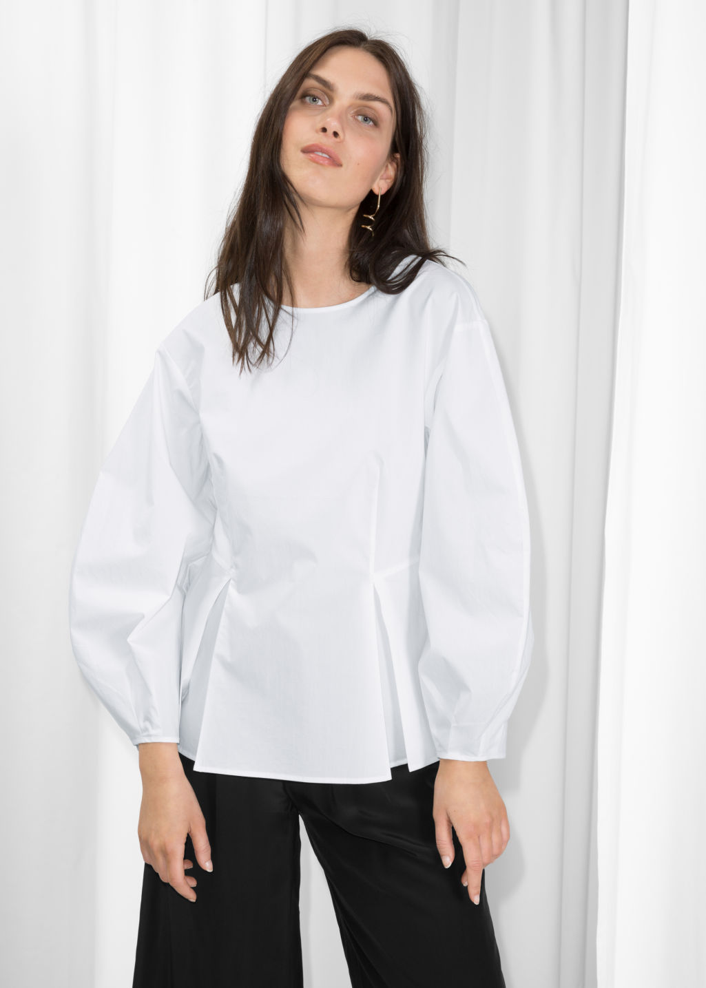 Model front image of Stories puff sleeve peplum blouse in white
