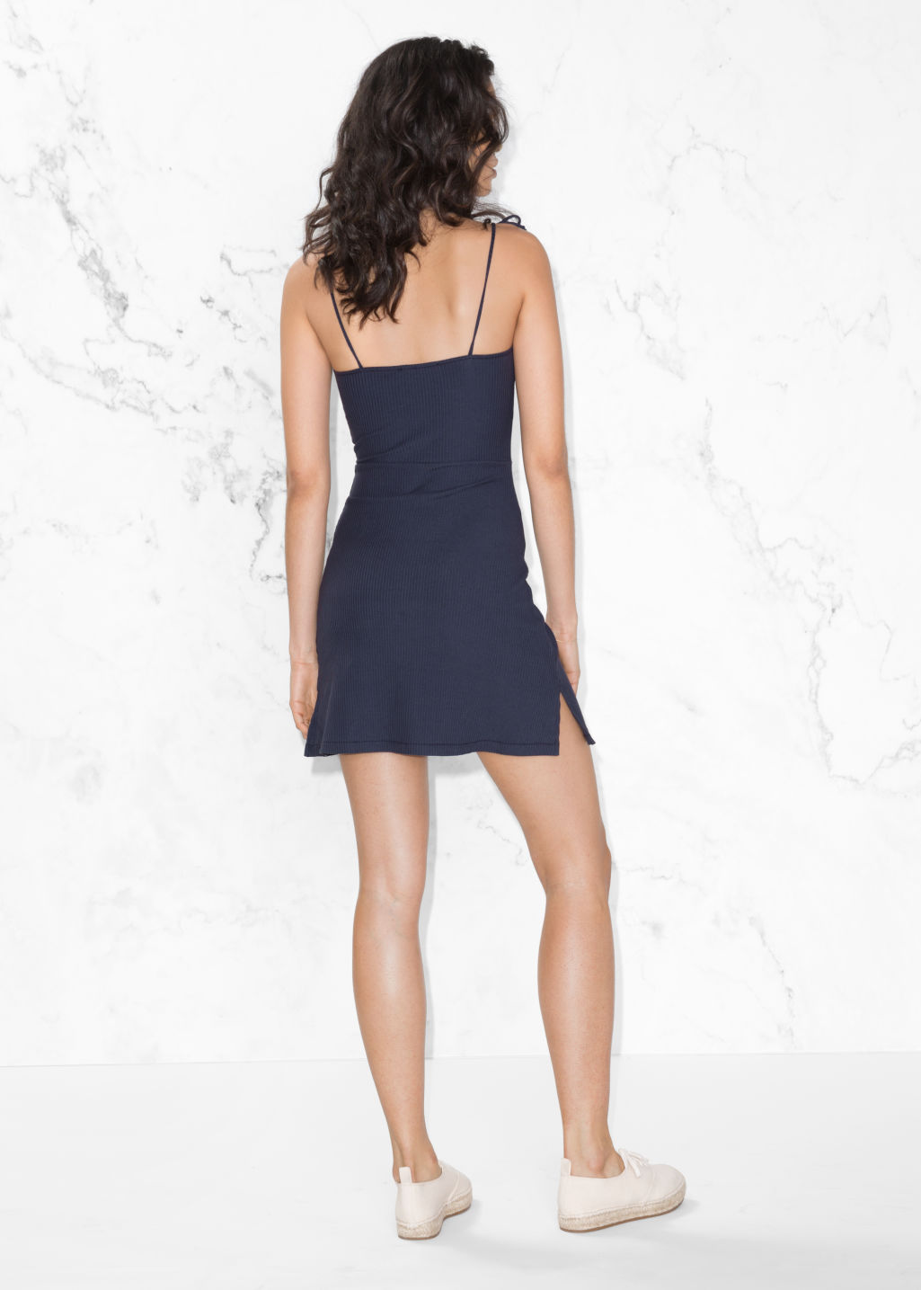 Model back image of Stories ribbed tie-strap dress in blue