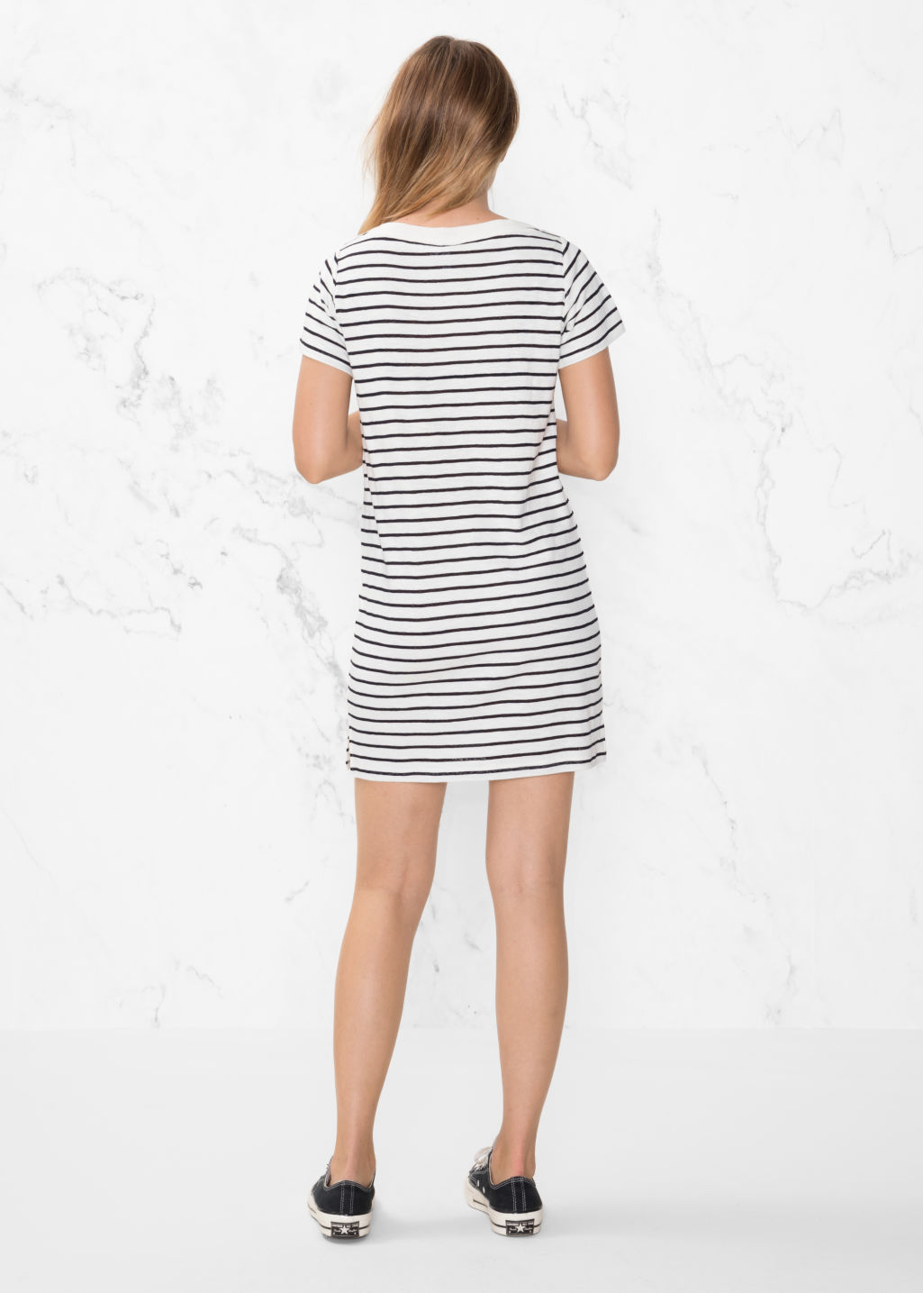 Oversized T Shirt Dress Striped Dresses Other Stories Grey Model Back Image Of In Blue