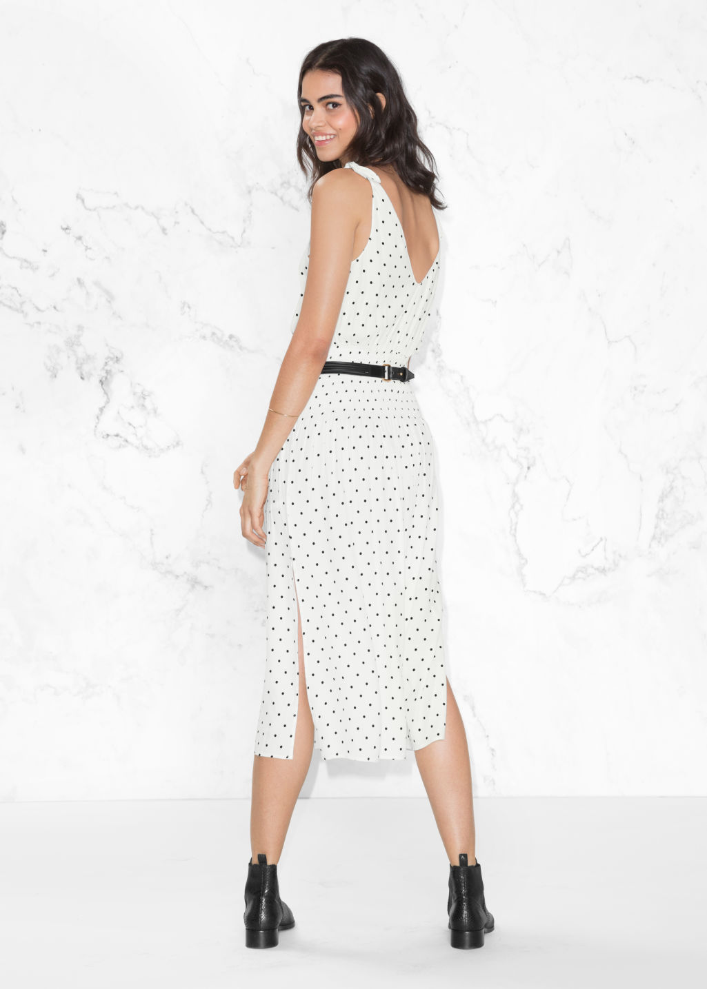 Model back image of Stories dotted dress in white