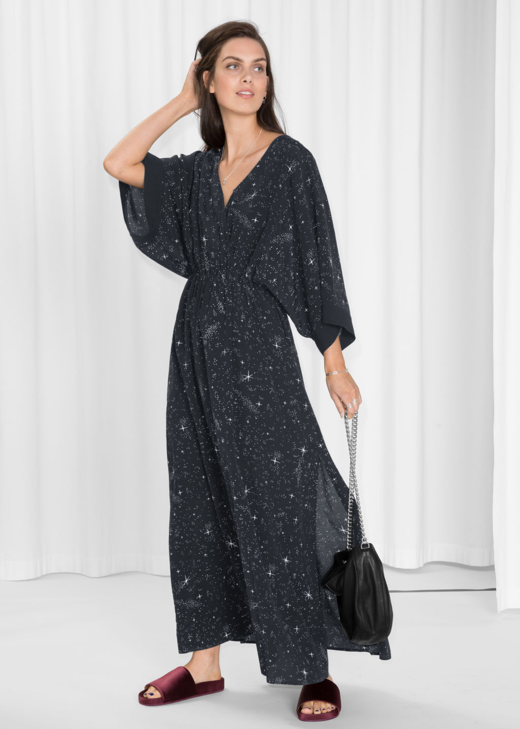 Model front image of Stories starry sky print dress in black