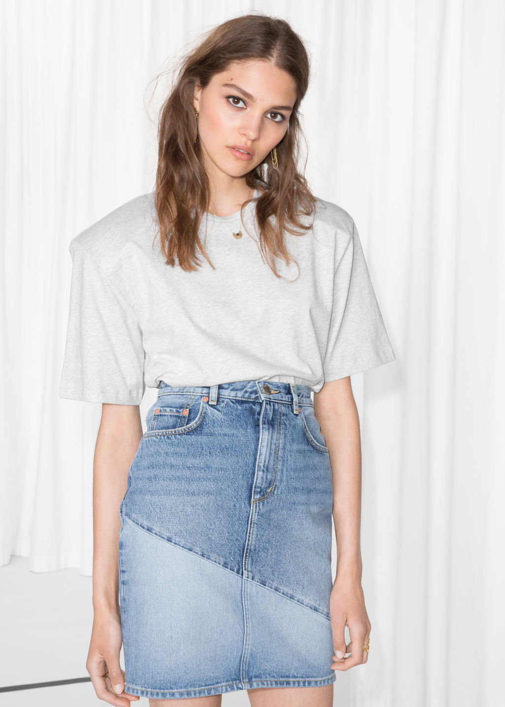 Model front image of Stories denim pencil skirt in blue