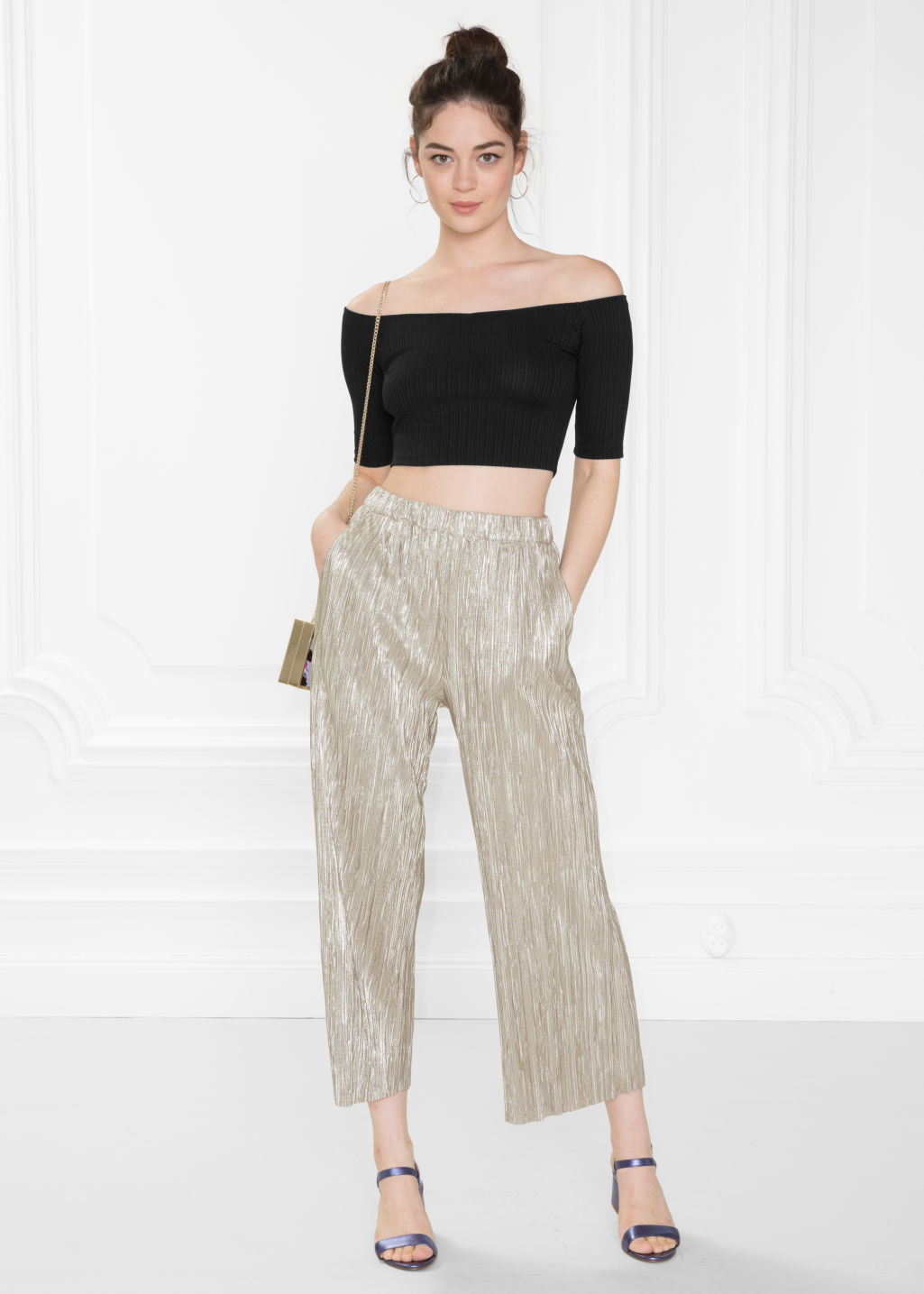 Model front image of Stories pleated metallic trousers in gold