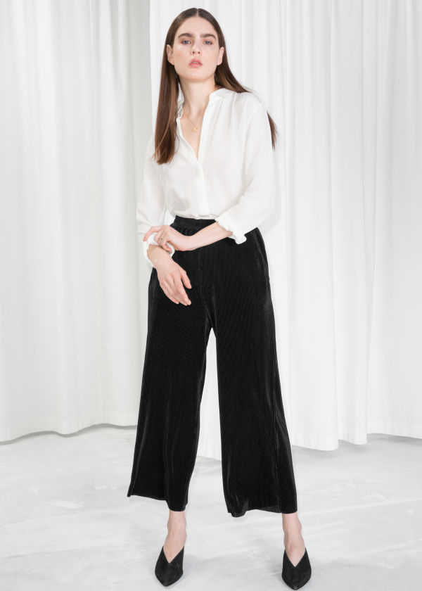 Pleated Metallic Trousers