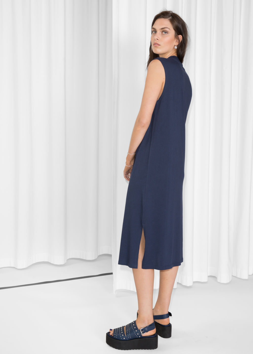 Model back image of Stories rib neck dress in blue
