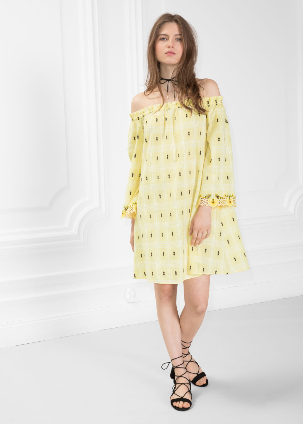 8f079a066672 Model front image of Stories embriodered off-shoulder dress in yellow ...