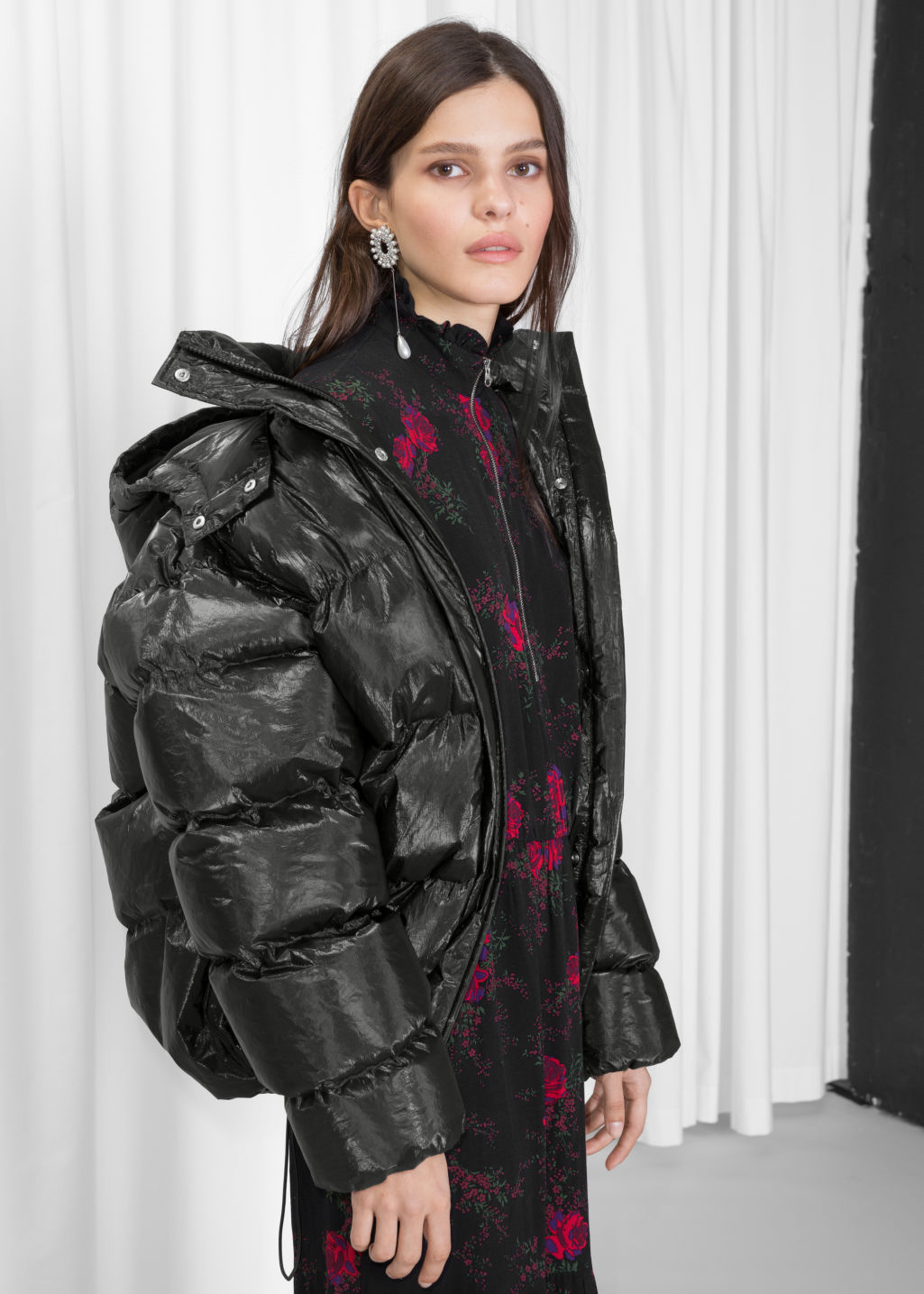 Model front image of Stories padded down puffer jacket in black