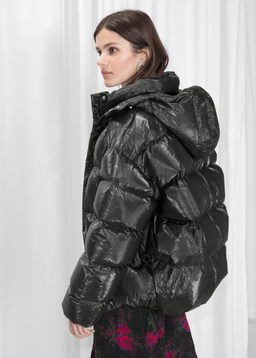 Model back image of Stories padded down puffer jacket in black