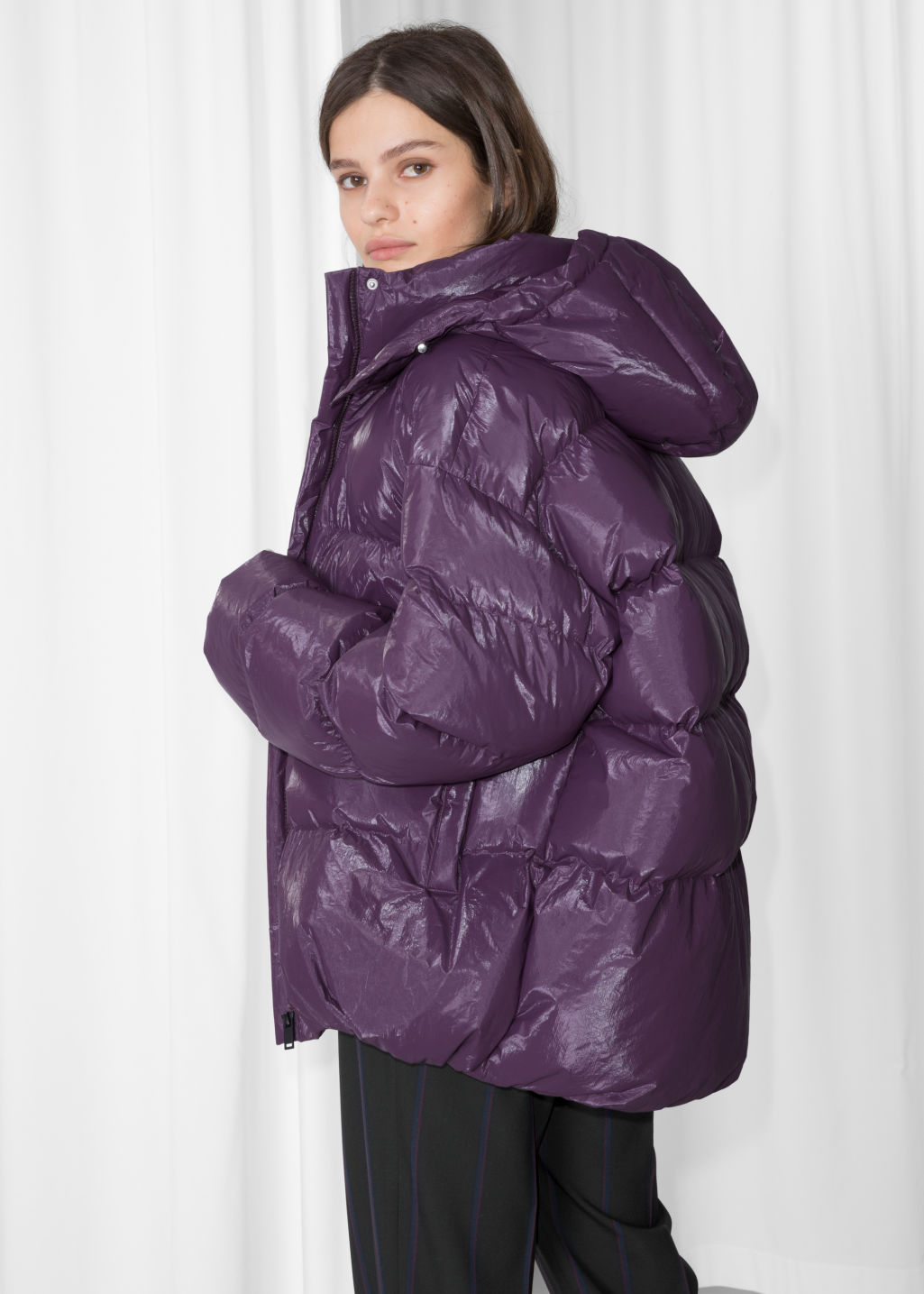 Model back image of Stories padded down puffer jacket in purple