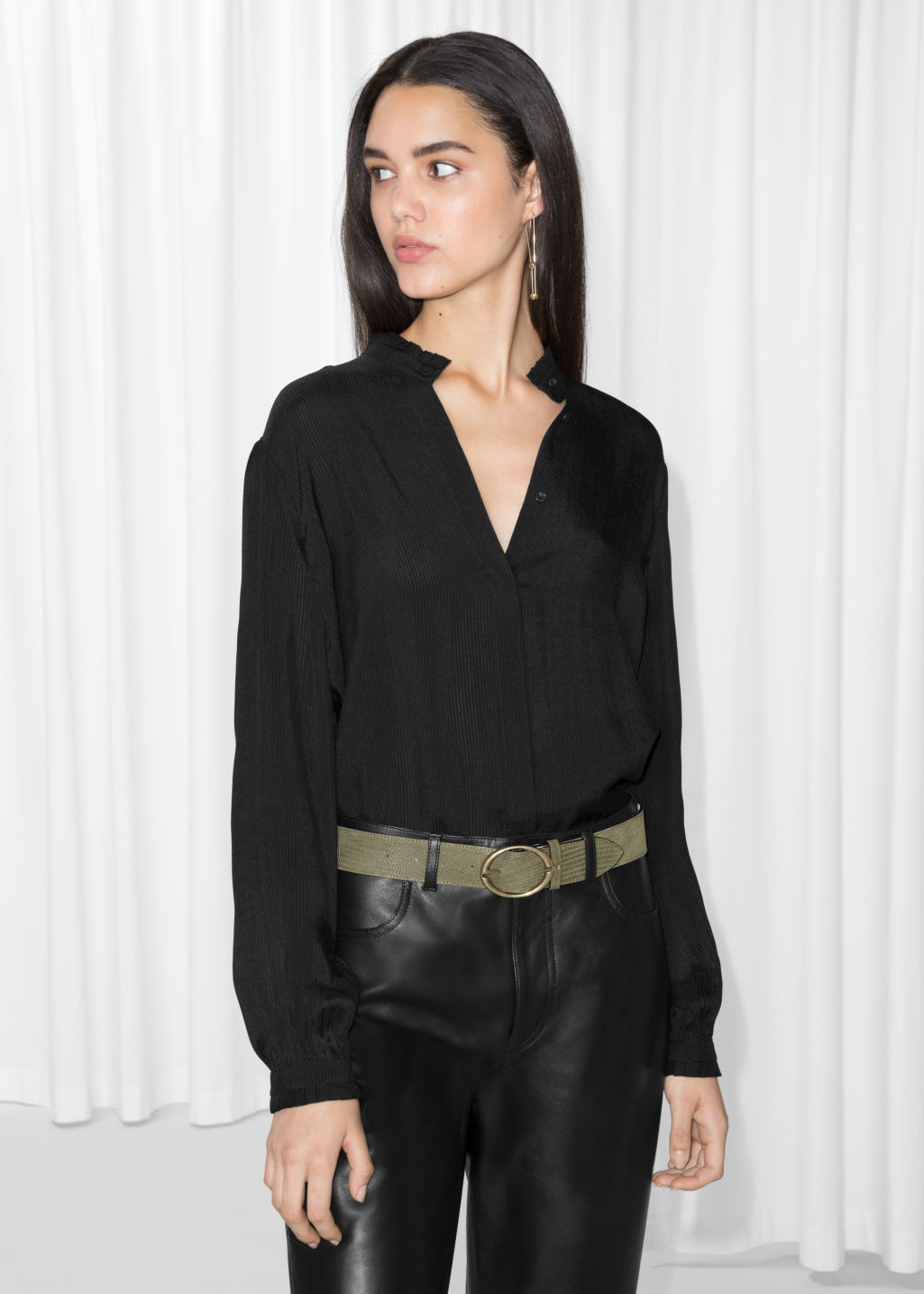 Model back image of Stories pleat frill neck blouse in black