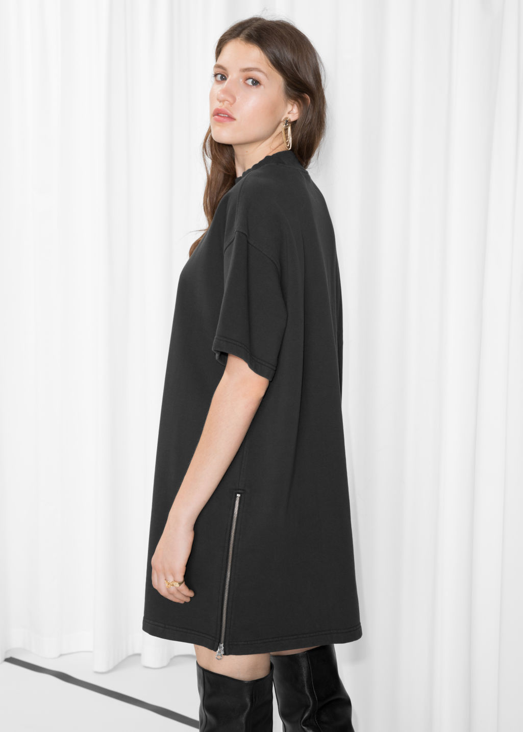 Model back image of Stories zipper shirt dress in black