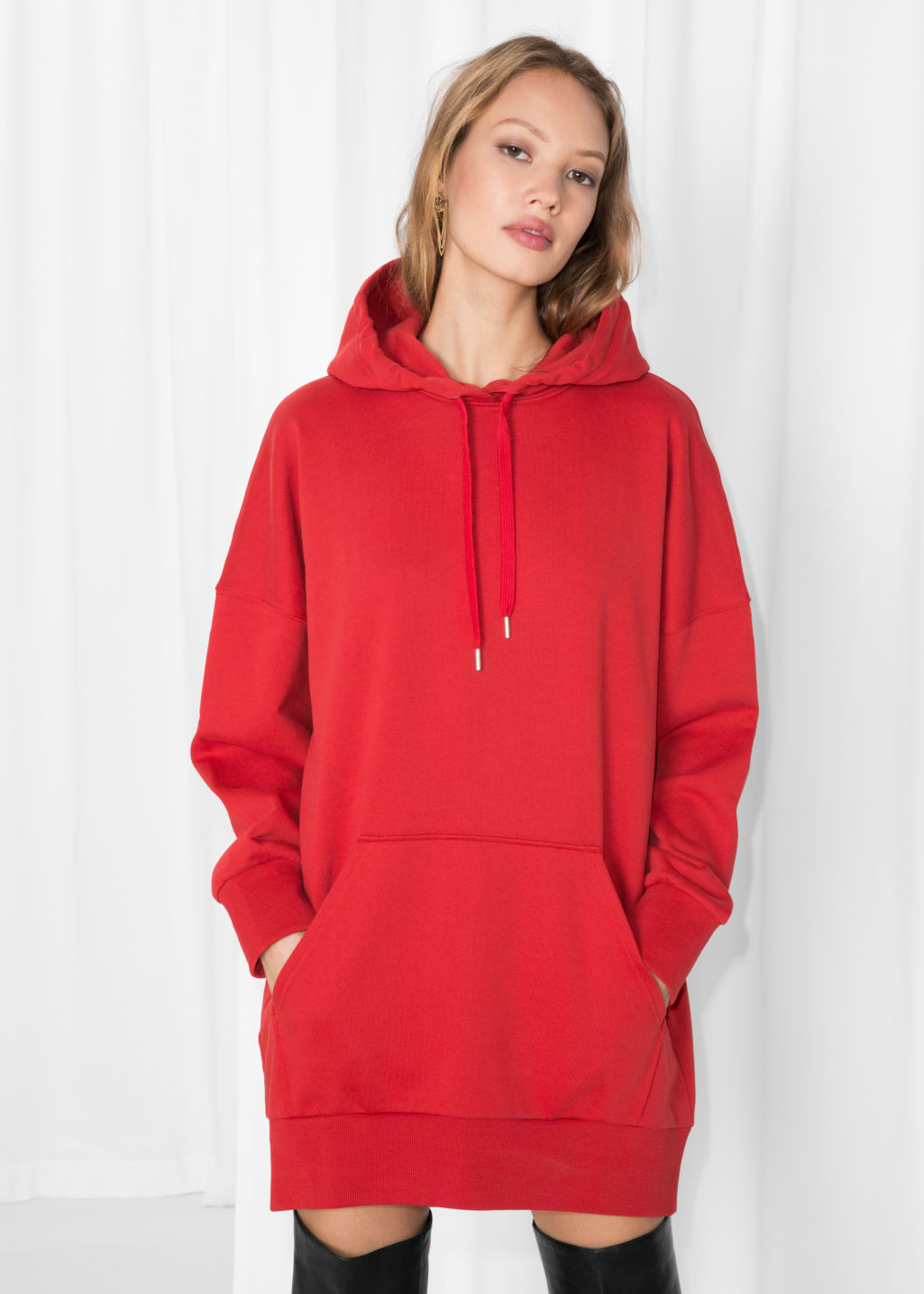 Model front image of Stories oversized hoodie dress in red