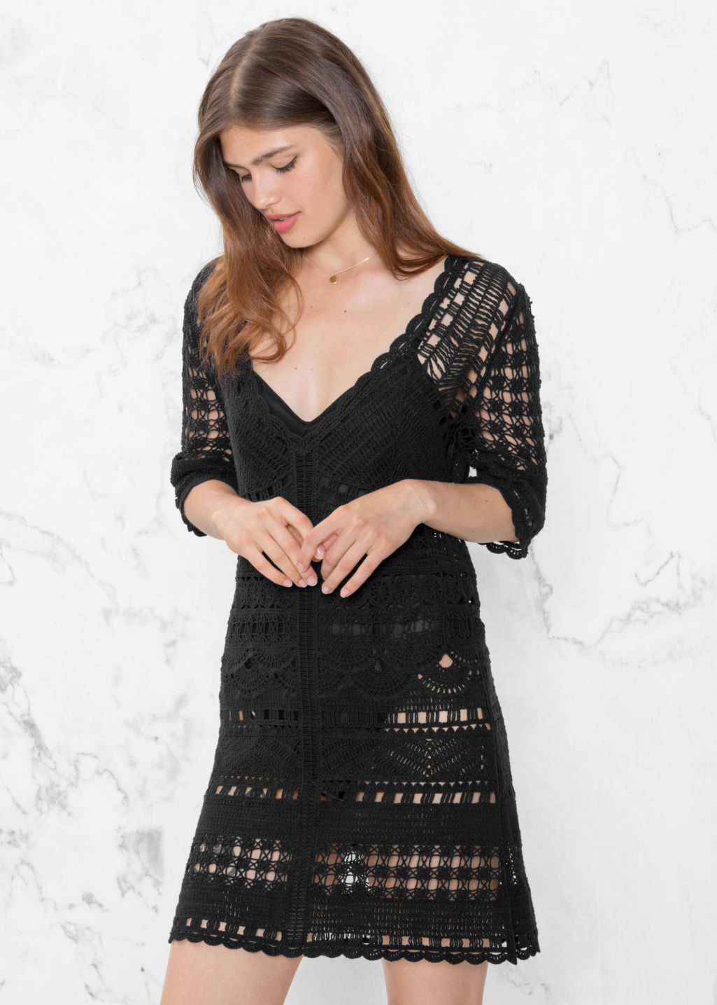 Model front image of Stories crochet dress in black