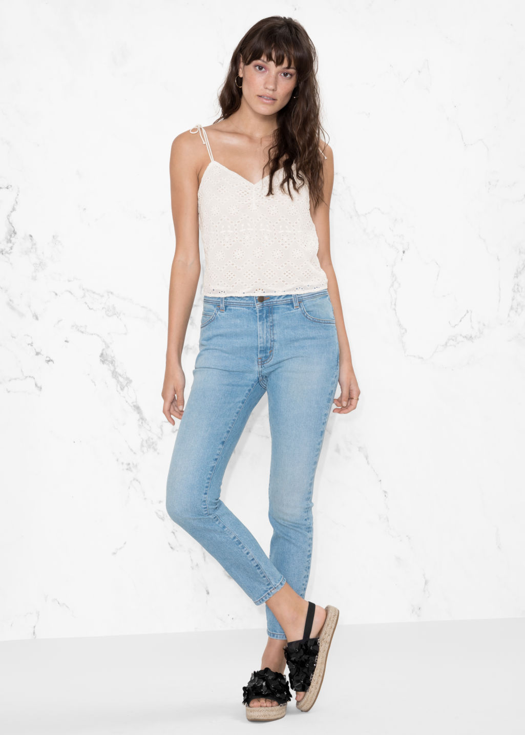 Model front image of Stories stretch denim jeans in blue