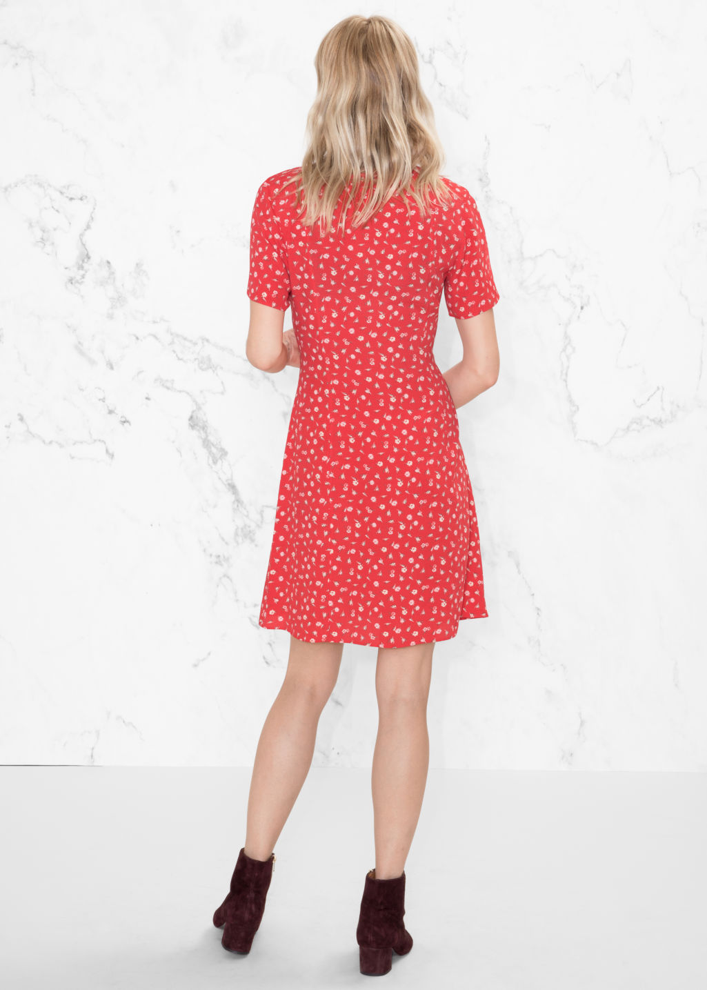 Model back image of Stories mini floral print dress in red