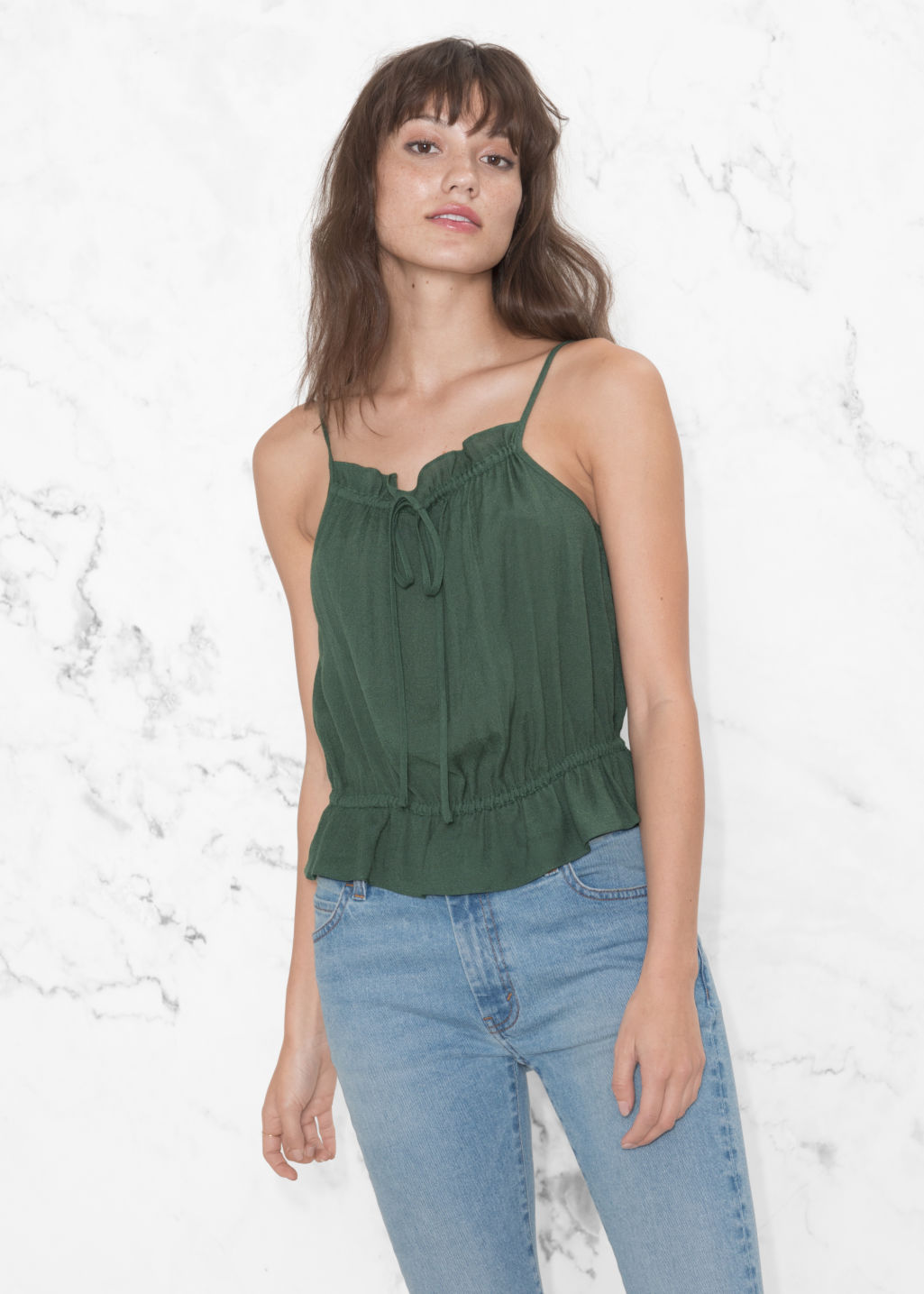 Model front image of Stories gathered strap top in green