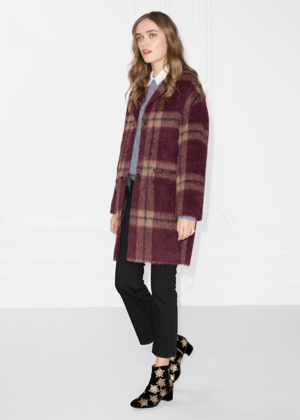 Model front image of Stories alpaca coat in red