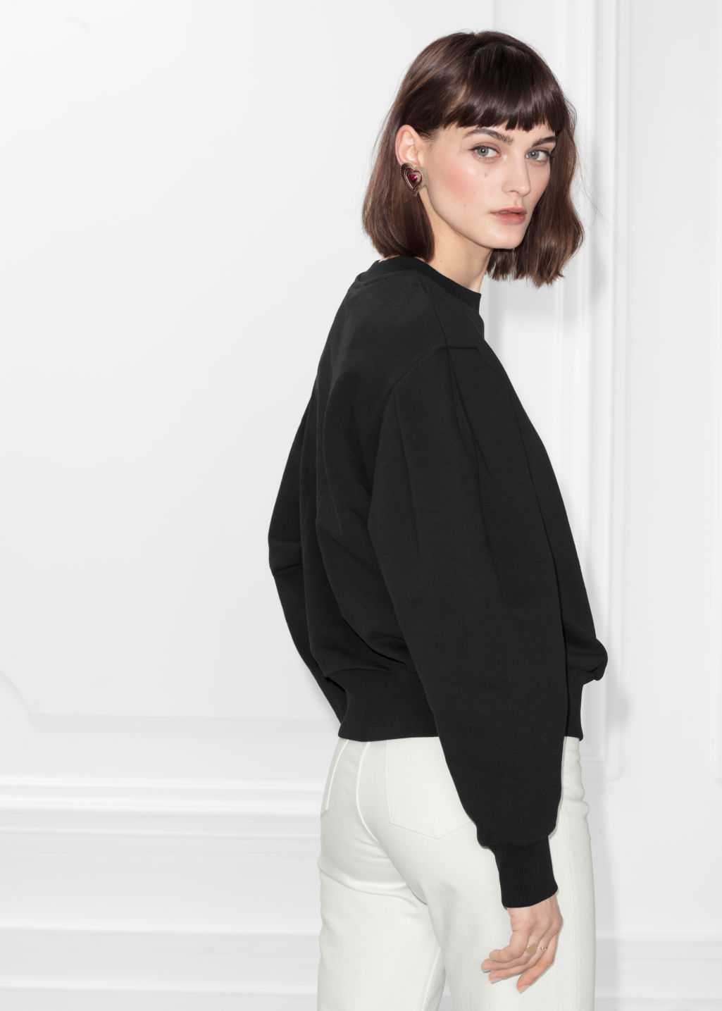 Model back image of Stories puff sleeve cotton sweatshirt in black
