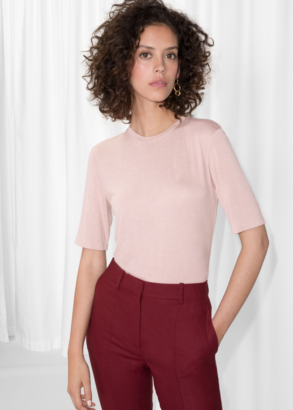 Model front image of Stories wool blend tee in pink