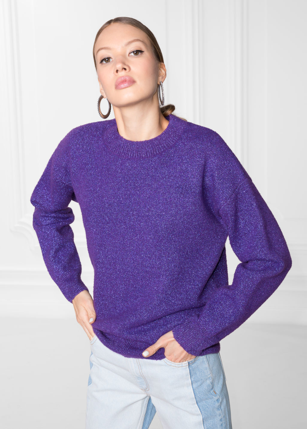 Model front image of Stories sparkling sweater in purple