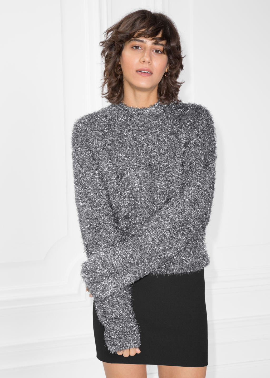 Model front image of Stories metallic knit sweater in silver