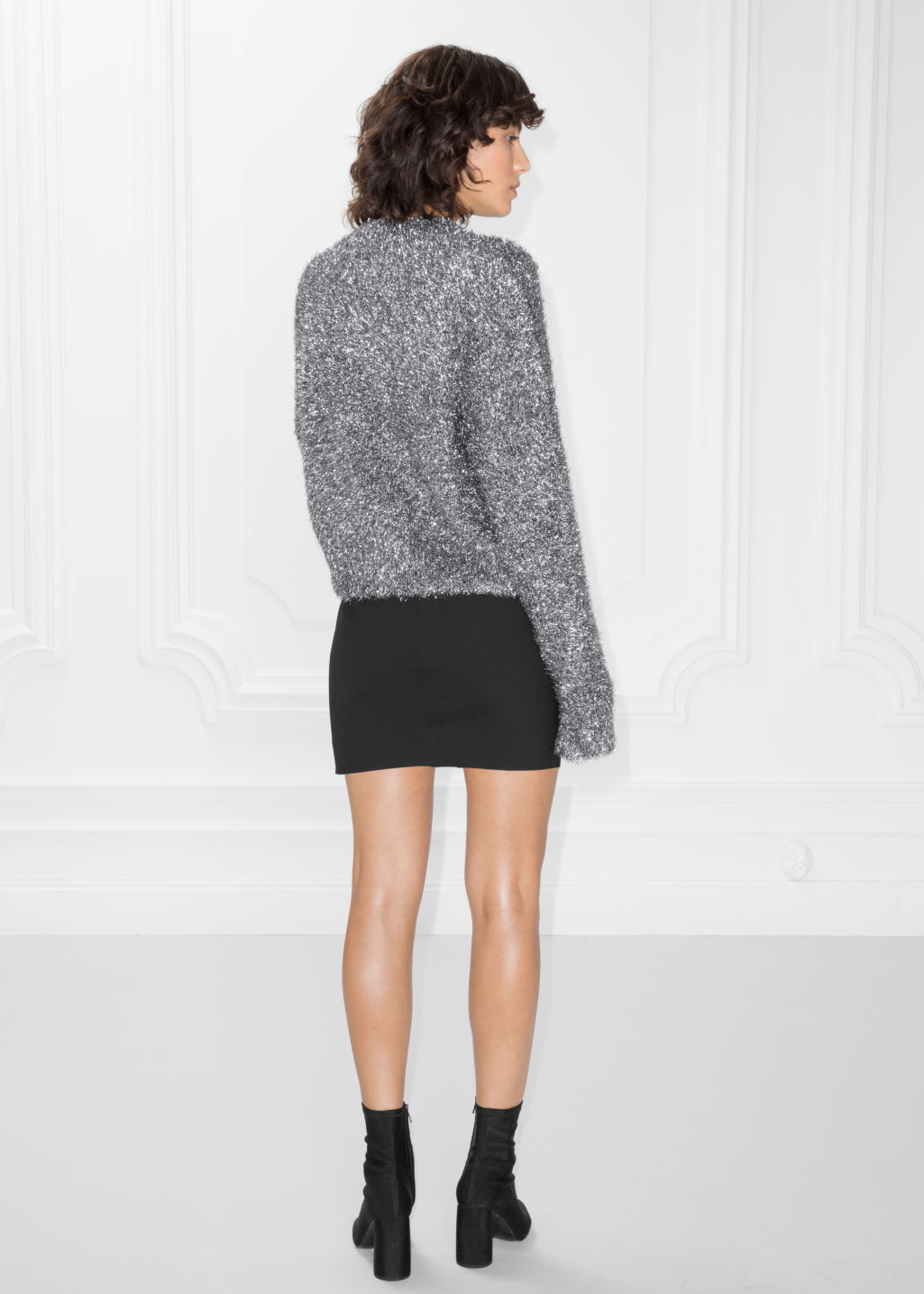 Model back image of Stories metallic knit sweater in silver