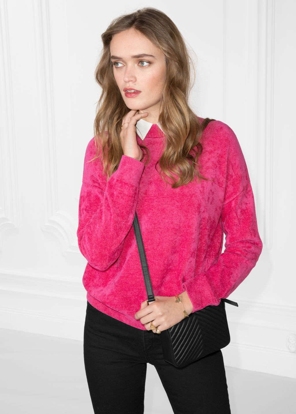 Model front image of Stories chenille sweater in pink