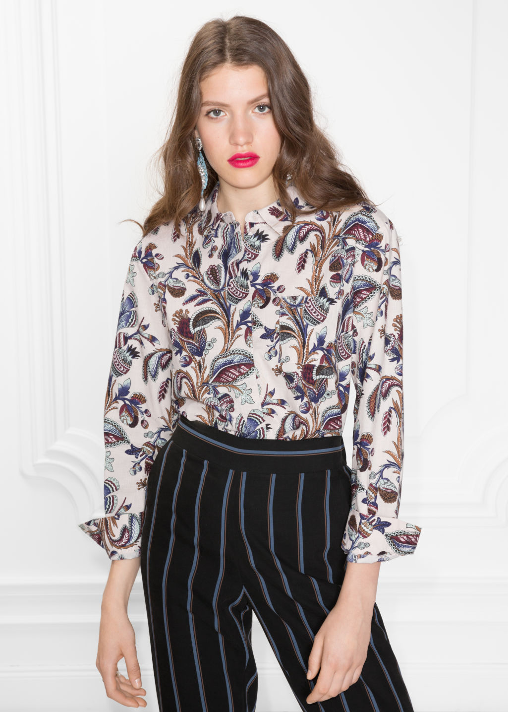 Model front image of Stories climbing floral shirt in beige