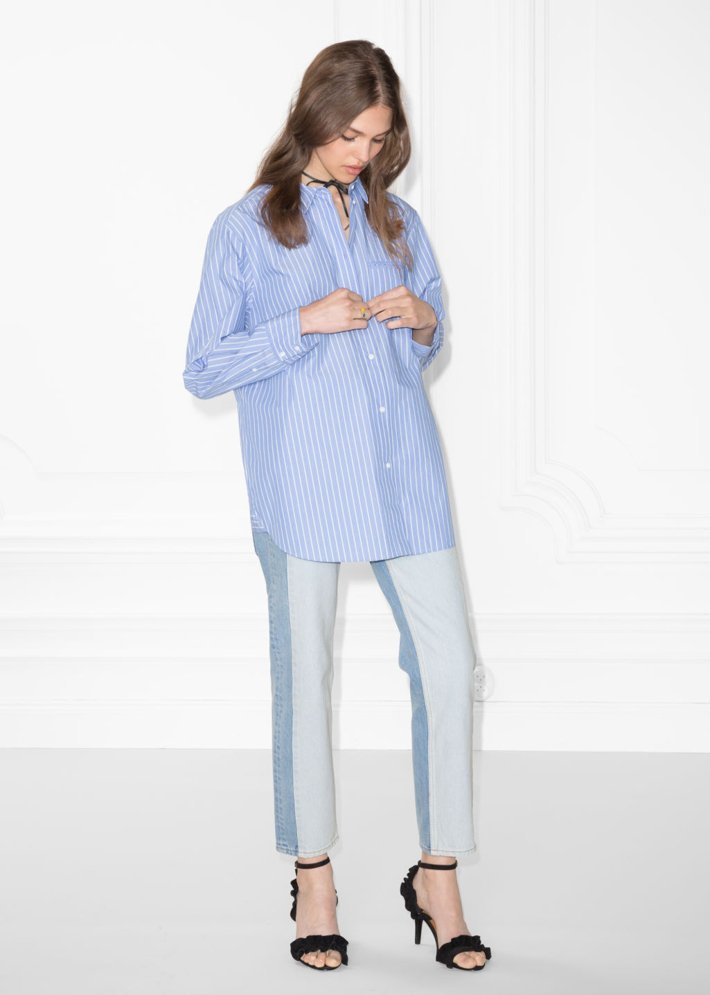 Model front image of Stories stripe cotton shirt in blue