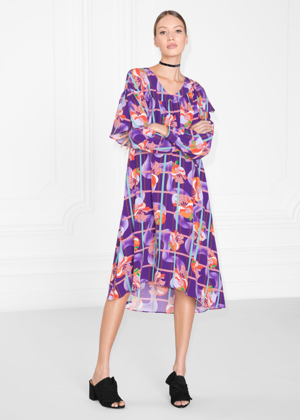 Model front image of Stories fruity print dress in purple