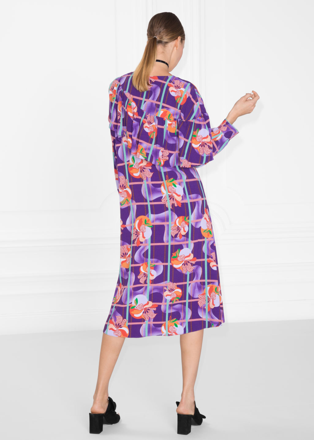 Model back image of Stories fruity print dress in purple