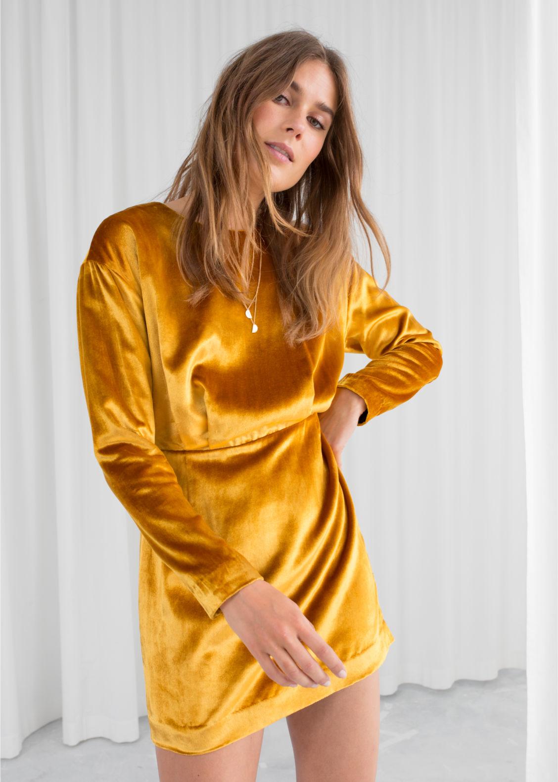 1da509937e08 Other Back Mini Dress Stories Slit Dresses Yellow amp  WaYnBHn