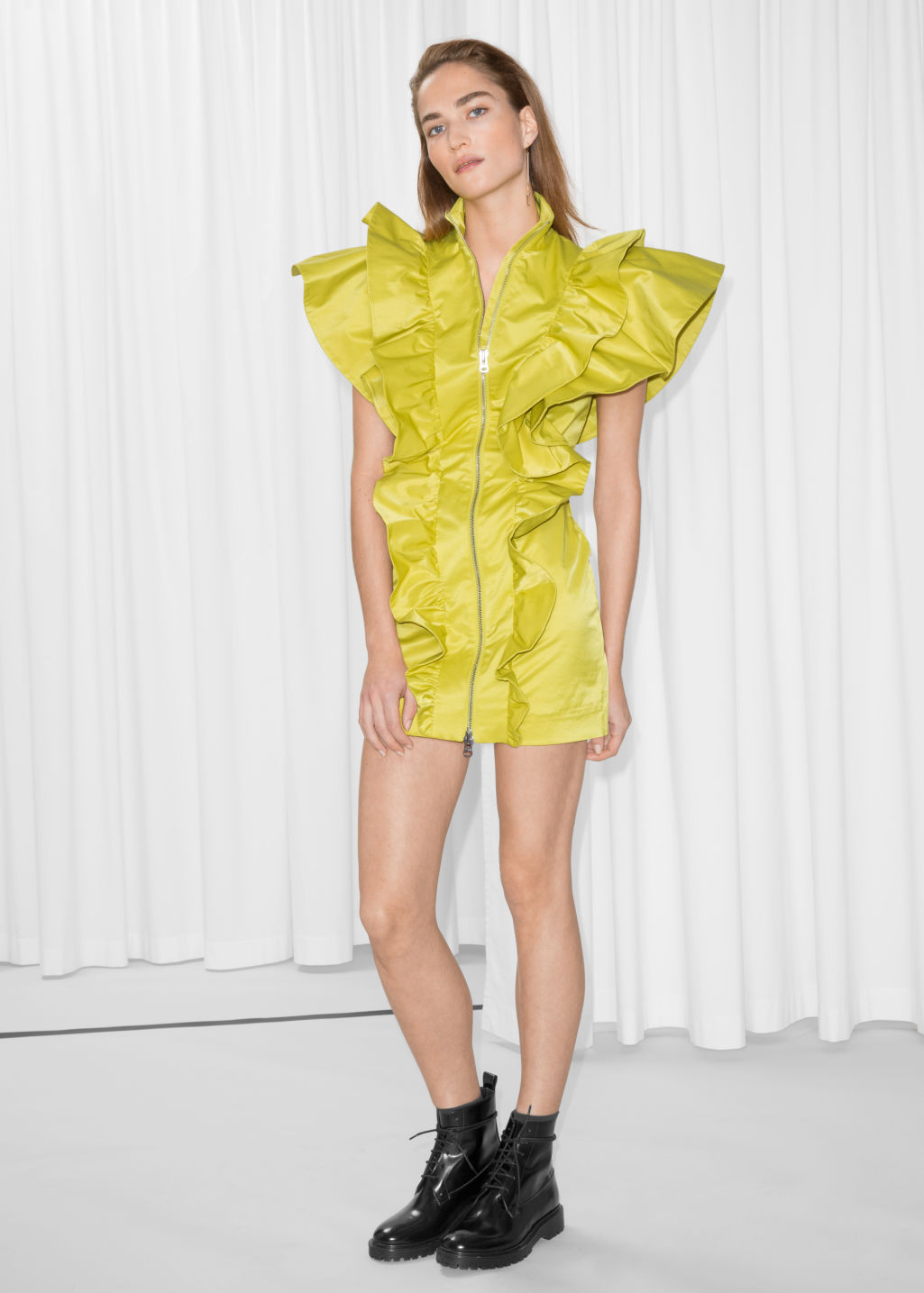 Model front image of Stories frill mini dress in yellow