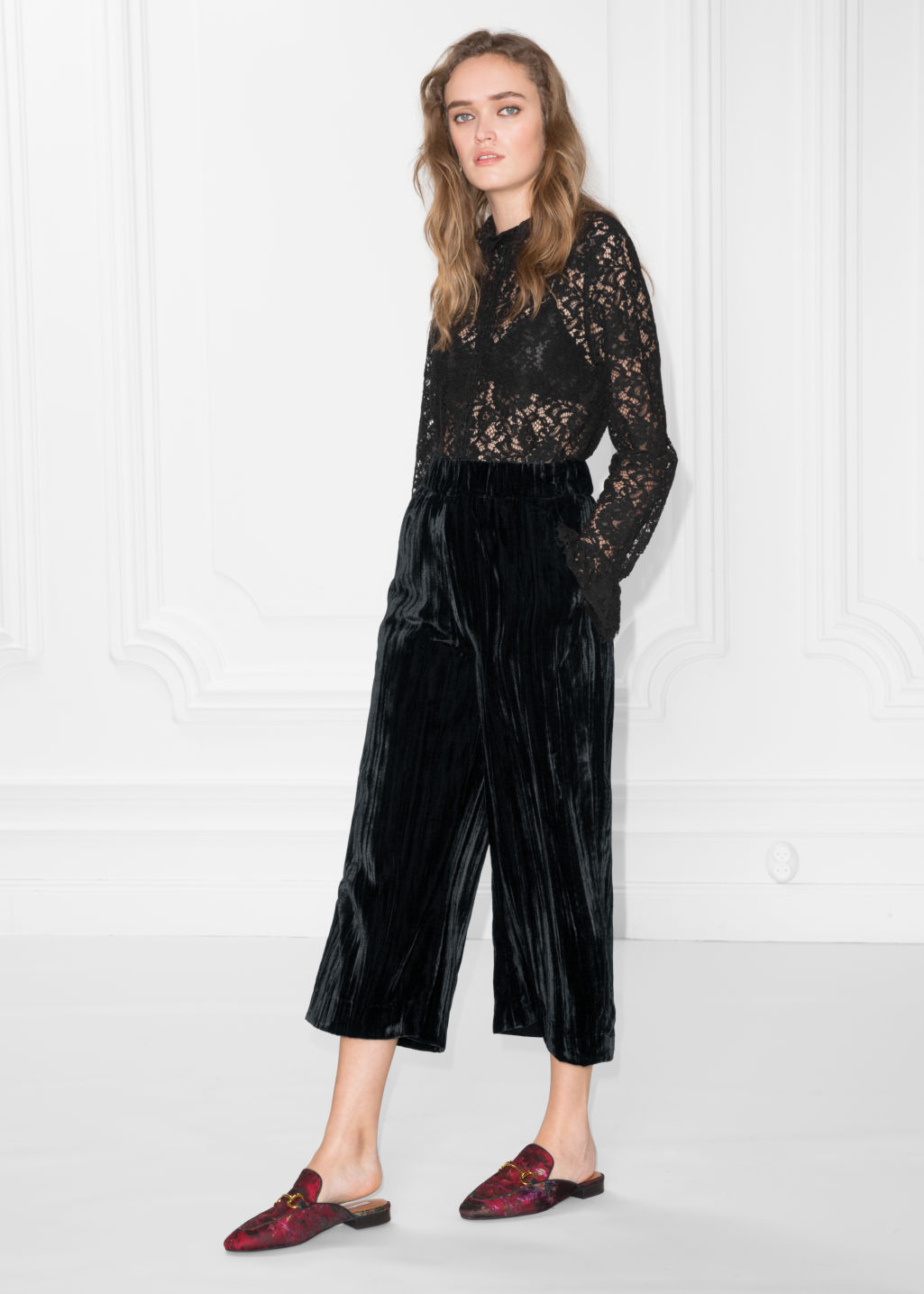 Model front image of Stories wrinkle velvet culottes in black
